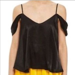 Topshop Satin Cold Shoulder Camisole in Black